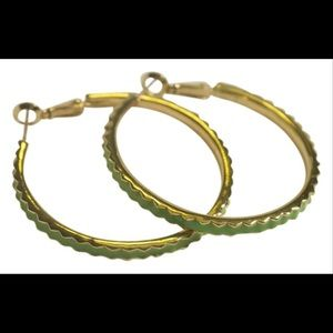 NWT Kate Spade Dot to Dot Green/Gold Hoop Earrings